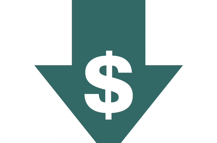 An arrow with a dollar symbol on it points downward.